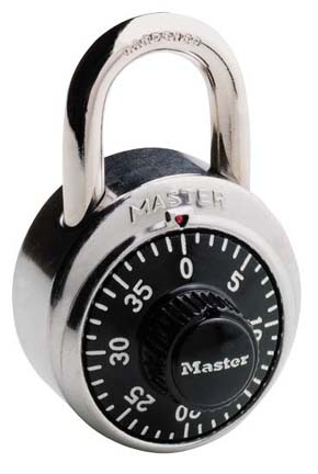 "ML-1500D - Masterlock 1-7/8"" - 3 Digit Combination Lock - Black (6/24)"