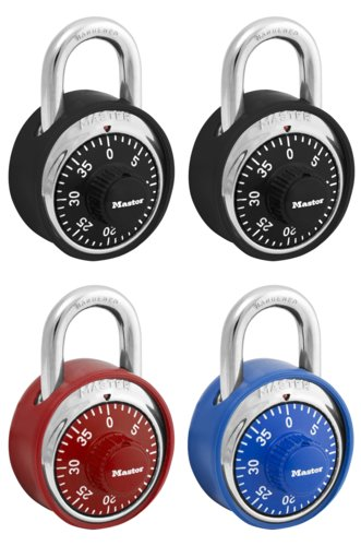 ML-1503DCOV - Masterlock Scratch Guard Rubber Bumper Combination Lock - 4 Assorted Color Locks (4/24)